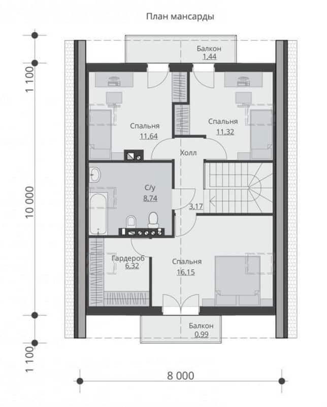 дом с мансардой из газобетона план мансарды