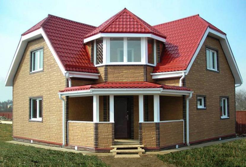 готовый дом из пеноблока с фасадом