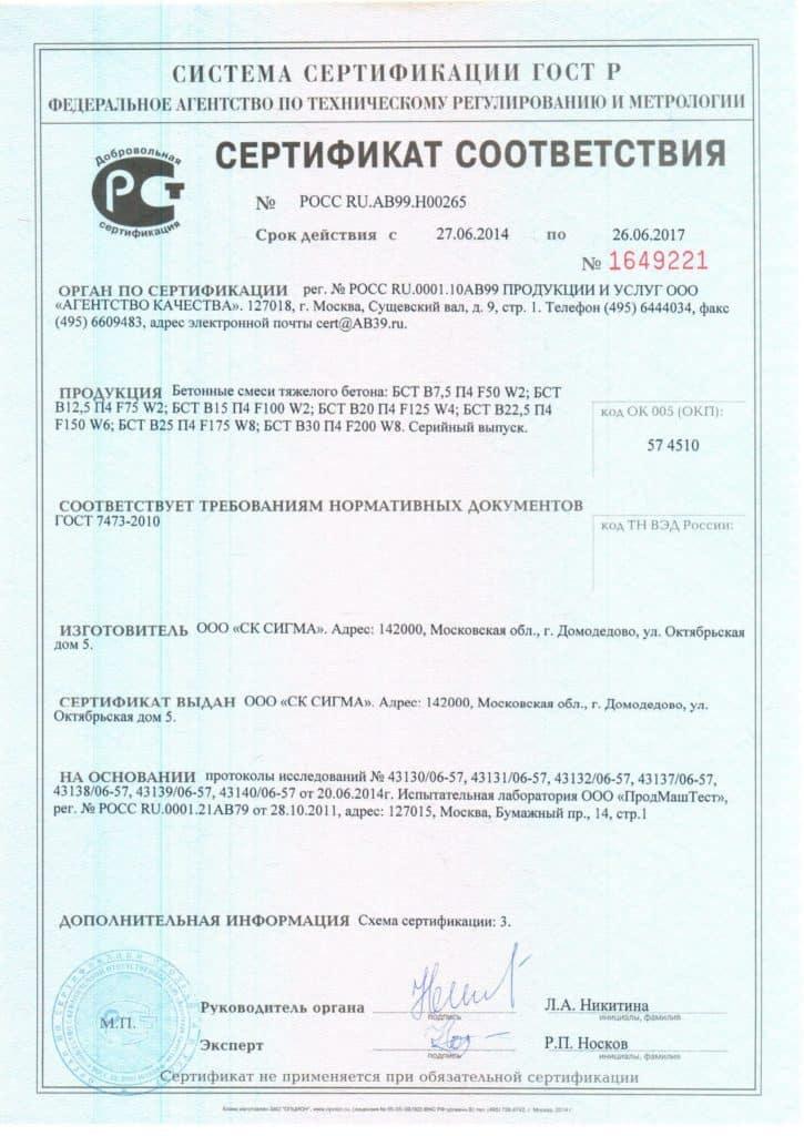 как выглядит сертификат соответствия на бетон