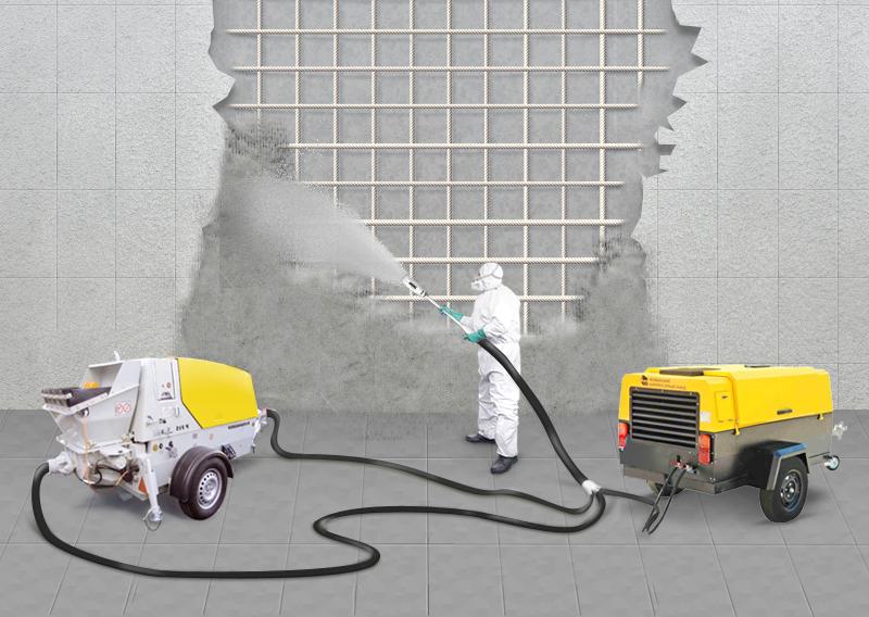 осуществление торкретирования бетона