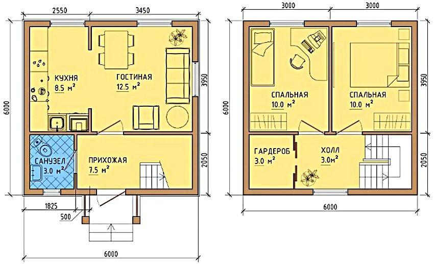 планировка дома 6х6 из газоблока