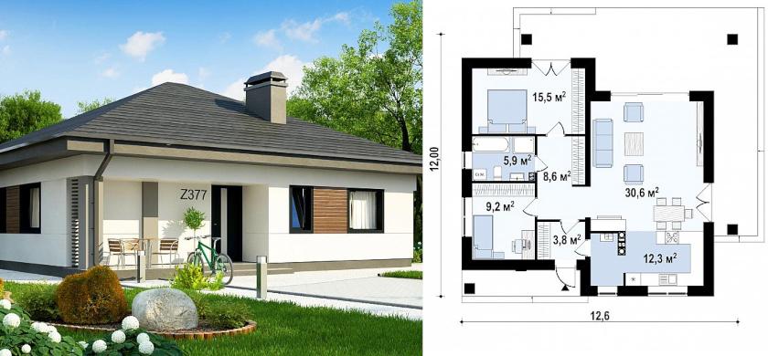 пример проекта одноэтажного дома