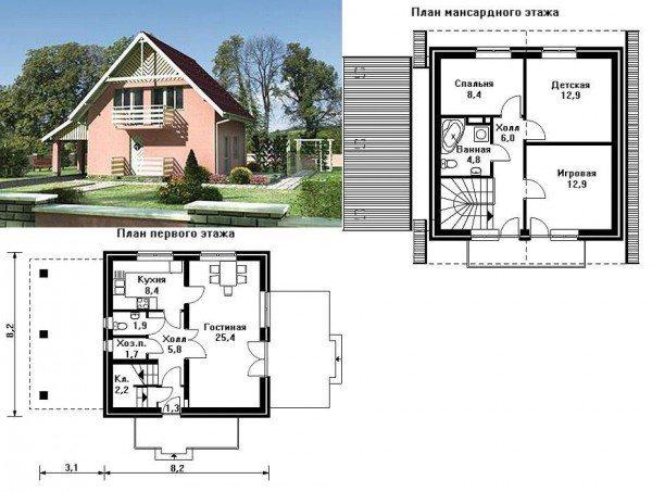 проект газобетонного дома 8х8