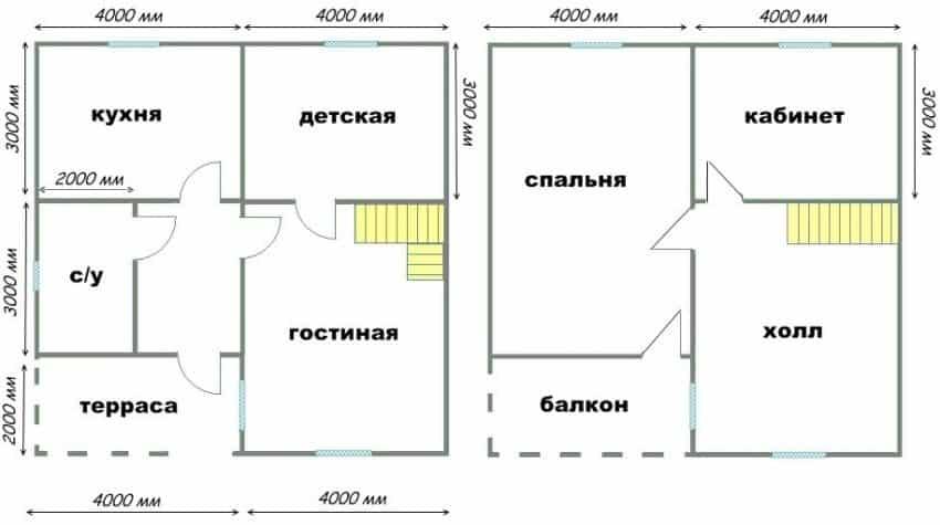 проект небольшого дома 8 на 8