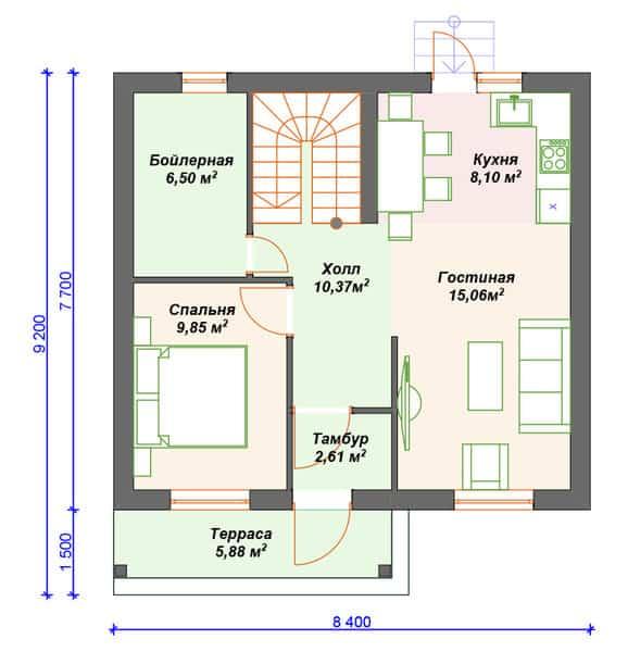 проект небольшого газобетонного дома