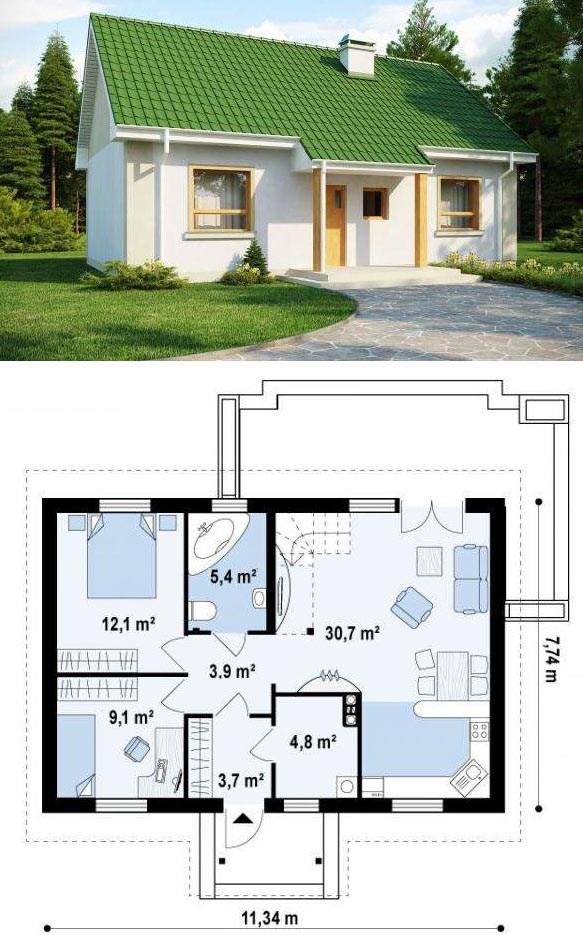 проекты одноэтажных домов из пеноблока
