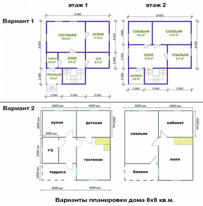 варианты планировки дома 8 на 8