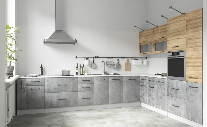 как смотрится в интерьере бетонная кухня