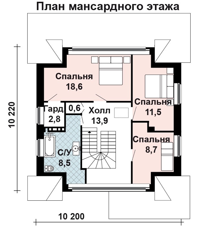 пример плана мансардного этажа