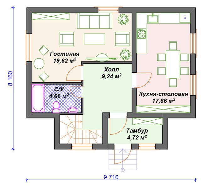 вариант планировки газобетонного дома