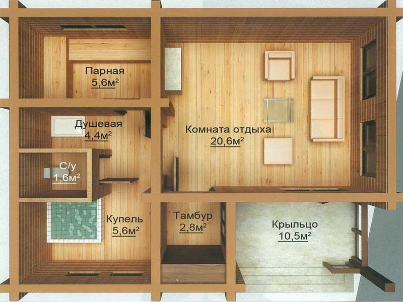 как правильно расположить помещения в бане