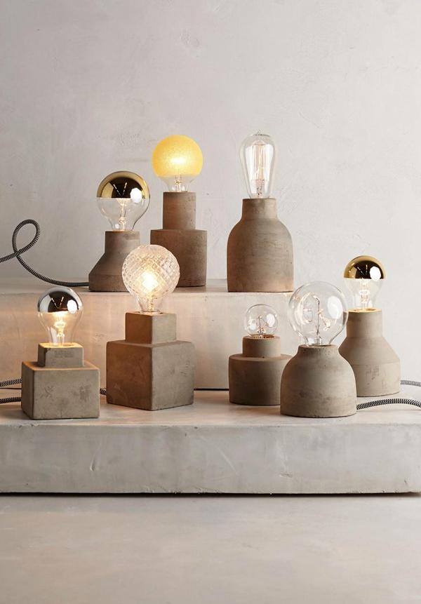 какие бывают бетонные настольные светильники