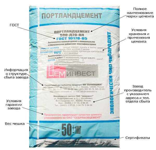 маркировка упаковки с цементом