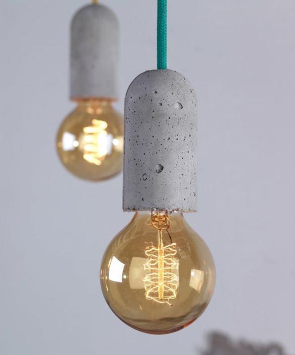 необычные светильники из бетона