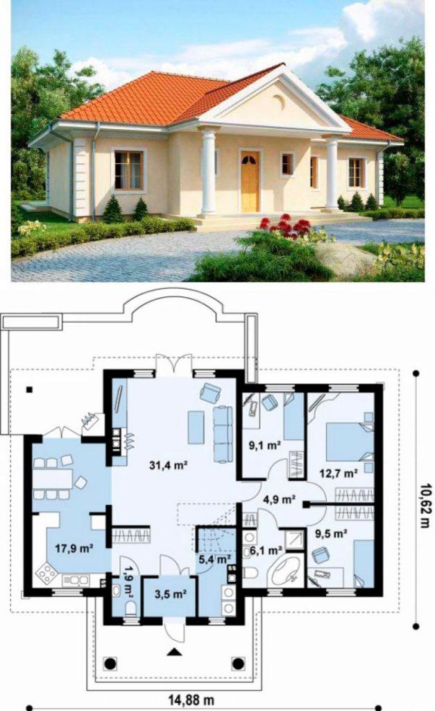 проект небольшого одноэтажного пеноблочного дома
