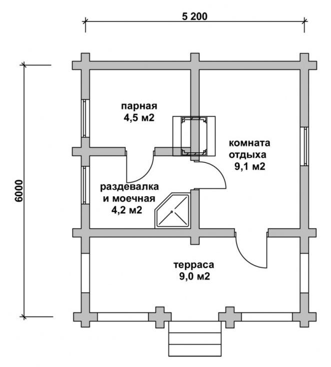 средняя баня с террасой проект