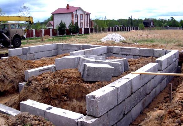 строительство ленточного фундамента из блоков фбс