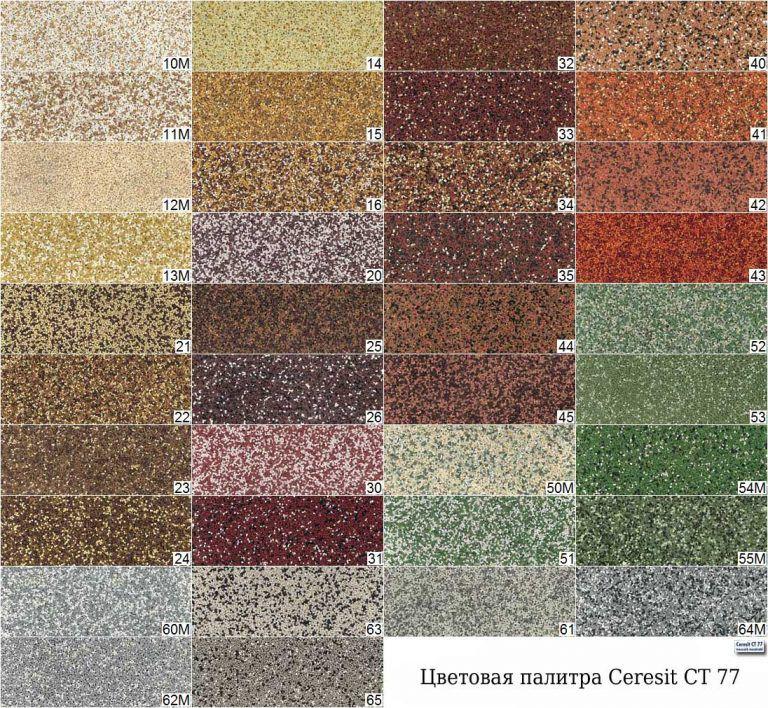 цветовая палитра штукатурка церезит ст77