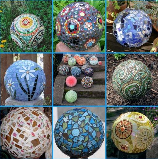 как декорировать бетонные шары