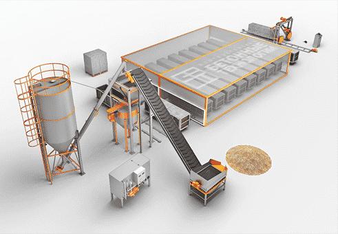 конвейерная линия для производства газобетонных блоков