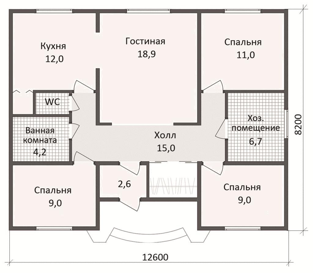 планировка дома из пенобетона до 100 метров квадратных