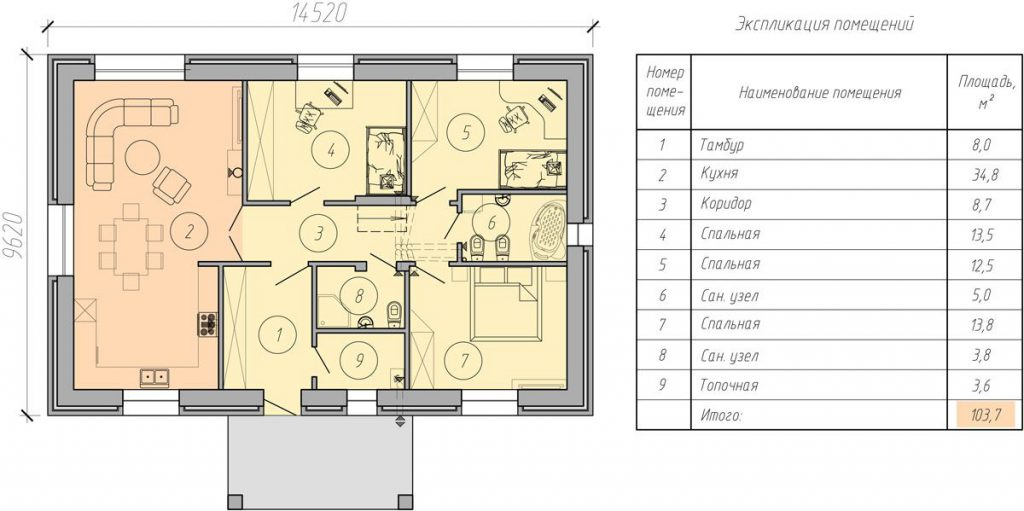 проект дома из пенобетона до 100 квадратных метров