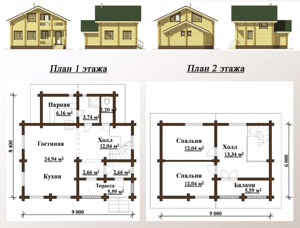 проект двухэтажного дома до 100 кв метров