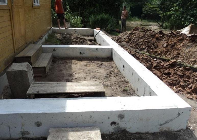 Пристройка к дому из газобетонных блоков фундамент