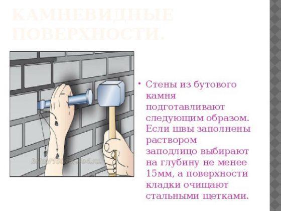 Подготовка камневидных стен под штукатурку
