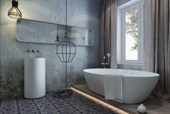 Декоративная влагостойкая штукатурка в ванной