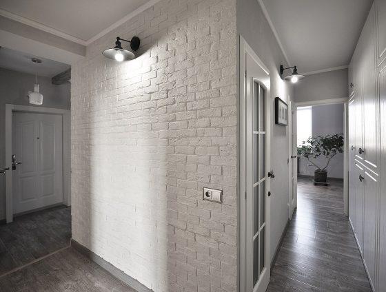Стена из имитации кирпича в интерьере